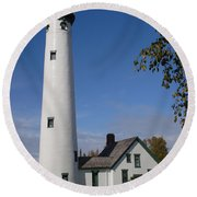 Presque Isle Mi Lighthouse 5 Round Beach Towel