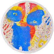 Pressed Paint Round Beach Towel