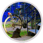 Pretty Cat In Verdun Taking The Sun Blue Picket Fence And Bike Montreal Garden Scene Carole Spandau  Round Beach Towel
