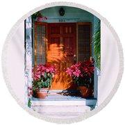 Pretty House Door In Key West Round Beach Towel by Susanne Van Hulst
