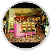 Pretty In Pink Bar Stools And Slots Reserved For Spring Break High Rollers   Round Beach Towel