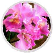 Pretty In Pink Cattleya Orchids Round Beach Towel