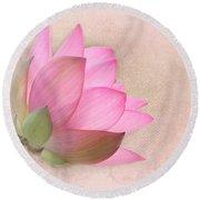 Pretty In Pink Lotus Blossom Round Beach Towel by Sabrina L Ryan