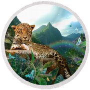Pretty Jaguar Round Beach Towel by Alixandra Mullins