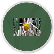 Pretty Little Yellow Warbler Round Beach Towel