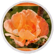 Pretty Peachy Rose Abstract Flower Round Beach Towel