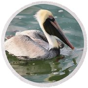 Pretty Pelican In Pond Round Beach Towel