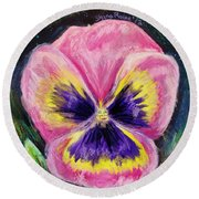 Pretty Pink Pansy Person Round Beach Towel