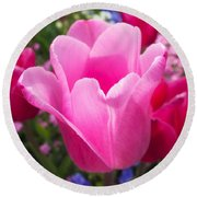 Pretty Pink Tulip And Field With Flowers And Tulips Round Beach Towel