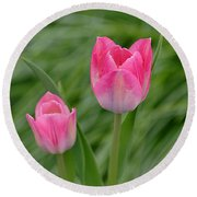 Pretty Pink Tulips Round Beach Towel
