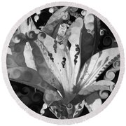 Pretty Pouting Pleasures A Black And White Painting Round Beach Towel