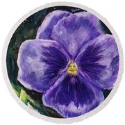 Pretty Purple Pansy Person Round Beach Towel