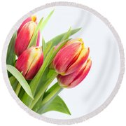 Pretty Red And Yellow Tulips On White Background Round Beach Towel