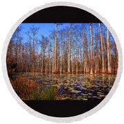 Pretty Swamp Scene Round Beach Towel by Susanne Van Hulst
