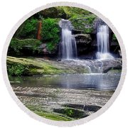 Pretty Waterfalls In Rainforest Round Beach Towel