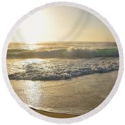 Pretty Waves At Glowing Sunrise By Kaye Menner Round Beach Towel