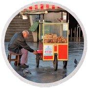 Pretzel Seller With Pushcart Istanbul Turkey Round Beach Towel