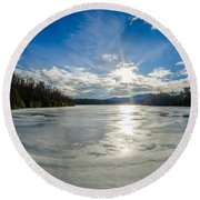 Price Lake Frozen Over During Winter Months In North Carolina Round Beach Towel