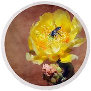 Prickly Pear And Bee Round Beach Towel