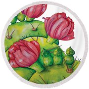 Prickly Pear Bloom Round Beach Towel