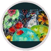 Prickly Pear Cactus Study II Round Beach Towel