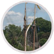 Pride Of Baltimore II At Dock Round Beach Towel