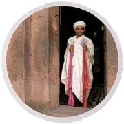 Priest At Ancient Rock Hewn Churches Of Lalibela Ethiopia Round Beach Towel