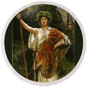 Priestess Bacchus Round Beach Towel by John Collier