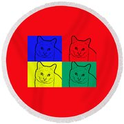 Primary And Green Cats Round Beach Towel