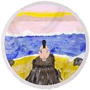 Primitive Woman Crouching Round Beach Towel