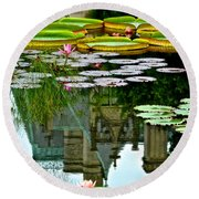 Prince Charmings Lily Pond Round Beach Towel