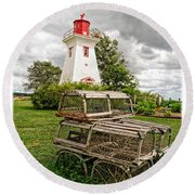 Prince Edward Island Lighthouse With Lobster Traps Round Beach Towel by Edward Fielding