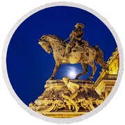 Prince Eugene Of Savoy Statue At Night Round Beach Towel