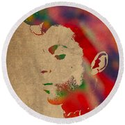 Prince Watercolor Portrait On Worn Distressed Canvas Round Beach Towel