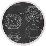 Princess Cut Diamond Patent Gray Round Beach Towel