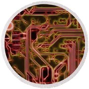 Printed Circuit - Motherboard Round Beach Towel