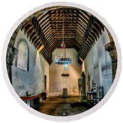 Priory Church Of St Seiriol Round Beach Towel by Adrian Evans