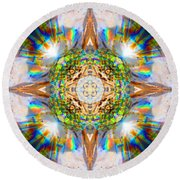 Prism Rainbow Mandala Round Beach Towel
