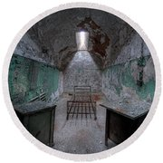 Prison Cell At Eastern State Penitentiary Round Beach Towel