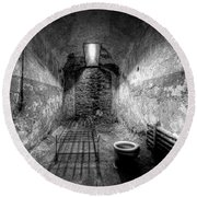 Prison Cell Black And White Round Beach Towel
