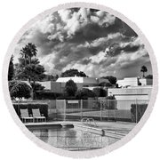Pristine Pool Bw Marrakesh Palm Springs Round Beach Towel