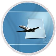 Private Jet Chicago Airplanes 14 Round Beach Towel