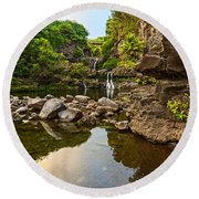 Private Pool Paradise - The Beautiful Scene Of The Seven Sacred Pools Of Maui. Round Beach Towel
