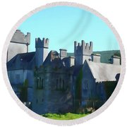 Private Property - Castle Art By Charlie Brock Round Beach Towel