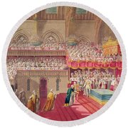 Procession Of The Dean And Prebendaries Of Westminster Bearing The Regalia, From An Album Round Beach Towel