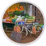 Produce Market In Corbridge Round Beach Towel