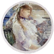 Profile Of A Seated Young Woman Round Beach Towel