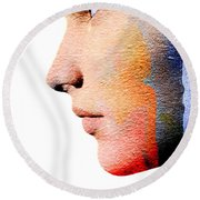 Profile Of A Woman Round Beach Towel