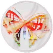 Profound Thought Butterfly Round Beach Towel