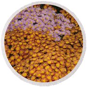 Profusion In Yellows Pinks And Oranges Round Beach Towel